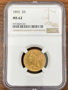 1892 NGC MS62 $5 LIBERTY HEAD GOLD