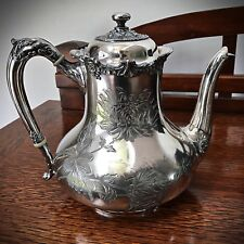 ANTIQUE REED & BARTON SILVERPLATE TEAPOT ETCHED FLORAL DESIGN 3519