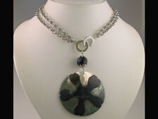 Round Mother of Pearl Shell Pendant Necklace Set s0788