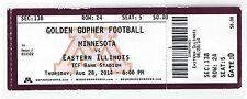 College Football Game Ticket 8/28/14 2014 Minnesota Gophers vs Eastern Illinois