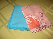 Set of 2 NWOT Men's Pocket Squares Solid Turquoise & Lilac Floral Polyester