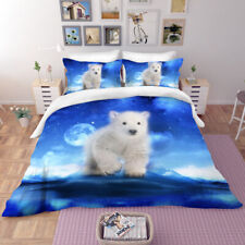 3D Lovely Polar Bear Bedding Set Duvet Cover Comforter Cover Pillow Case