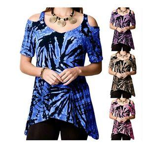 Women's Short Sleeve Cold Shoulder Irregular Hem T-Shirt / Top