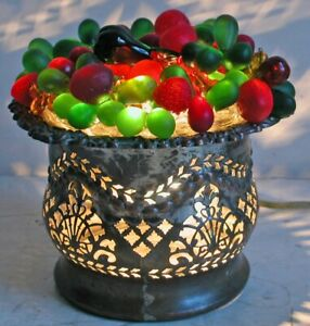 "Vintage Czech Glass Grape Fruit Lamp Filigree Silverplate Wine Coaster Base 6x6"""