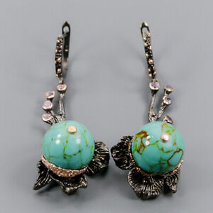 Turquoise Earrings Silver 925 Sterling Set Jewelry Design  /E44583