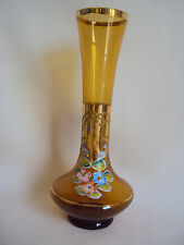 VINTAGE BOHEMIAN AMBER GLASS HAND PAINTED FLOWERS GOLD TRIMMED VASE