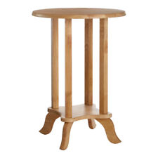 Premier Round Telephone / Plant / End Table, Tropical Hevea Wood, Natural Brown