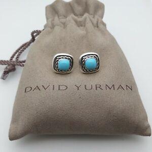 David Yurman Albion 7mm Cabochon Turquoise Stud Earrings