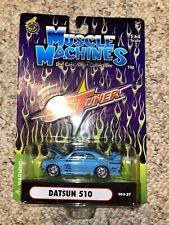 MUSCLE MACHINES DATSUN 510 SSTUNER 1:64 Scale Blue New in Box
