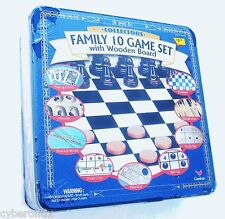 NEW Chess Backgammon Checkers Mancala 10 Board Games Set Roll-Up Cardinal IN BOX