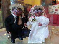 Rarissima coppia sposini ricci steiff Bambole D'epoca Anni 60 da collezione