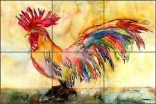 Rooster Tile Mural Backsplash Ceramic Kitchen Neufeld Abstract Art PNA017