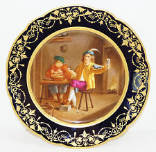 Sevres Style Porcelain Hand Painted Cabinet Plate Tavern Scene 20th century