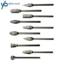 "10Pcs 1/8"" Tungsten Carbide Burr Rotary Drill Bits Tools Cutter Files Set Shank"