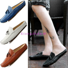 summer Mens slip on tassel backless slippers mules loafers Casual gommino shoes