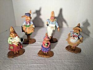 Set of 5 Dept 56 EASTER Bunny General Store Figurines Department 56 RARE Village