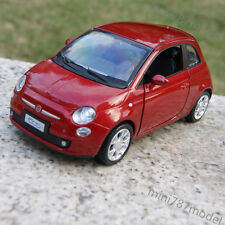 FIAT 500 Alloy Diecast Model Cars 1:28 Sound&Light Toy Collection&Gifts Red wine