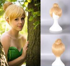 Mujeres Niñas Bollo pelucas de cabello rubio corto Peter Pan Hada Tinker Bell peluca cosplay