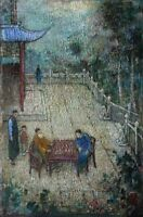 """perfact 24x36 oil painting handpainted on canvas""""A Game of Chess"""" NO3590"""