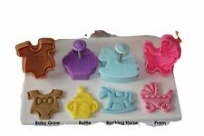 Baby Shower Ejector Plunger Cutters, 4 Cutters in Pack, Pastry, Sugarcraft