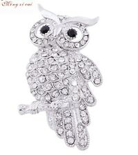 2017 New Design Elegant Silver Plated Rhinestone Owl Brooch Pin Gift Party P29