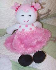 "Baby Starters Floppy Pink Doll w Polka Dots Fluffy Satin & Black Shoes EUC 11"""