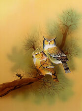 """Justiniano Pires """"Two Owls"""" Hand Signed Ltd Ed Lithograph Art, Make An Offer!"""