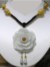 Huge Adjustable Beaded Chain Delicate Carved Jadeite Jade Peony Flower Necklace