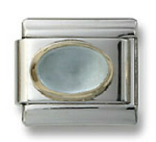 Authentic 18k Italian Charm Aqua Marine Stone Oval 9mm Fit Bracelet Birthstone
