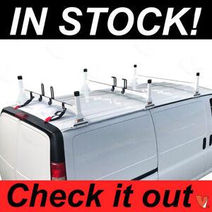 JMTAAT Universal 2 Bars Van Roof Mount Full Size Steel Ladder Rack for Chevy Express Ford GMC Savana