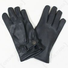 German Army Lined Leather Gloves - Winter Lined Military Combat Black Mens New