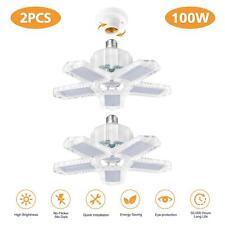 2Pack 100W Led Garage Light Bulb Deformable Ceiling Fixture Lights Workshop Lamp