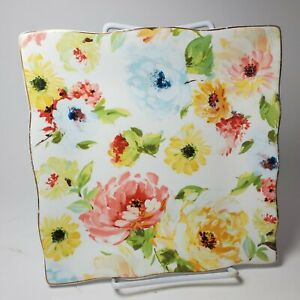 222 Fifth GEORGETTE ROSE  set of 2 Square salad Plates summer floral porcelain
