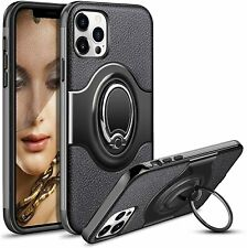 IPHONE 12 PRO MAX PHONE CASE COVER SKIN, RING HOLDER CAR MOUNT KICKSTAND. BLACK