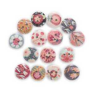 50pcs Flower Printing Wooden Buttons Sewing Scrapbooking Craft Making Decor 15mm