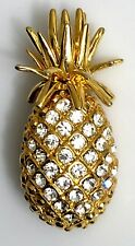 Gold Tone 3-D Figural Euc Pineapple Brooch Pin Clear Rhinestones