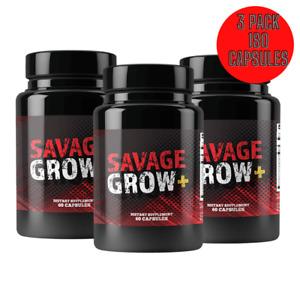 New Savage Grow Plus Pills - 3 PACK -180 Capsules
