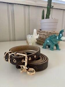 Luxury dog monogram collar with matching leash set combo SMALL SIZE