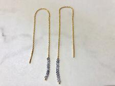 18K Gold Sterling Silver Threader Thread Earrings Iolite Gemstone Long Chain