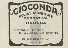 W0708 GIOCONDA acqua minerale purgativa italiana - Pubblicità 1925 - Advertising