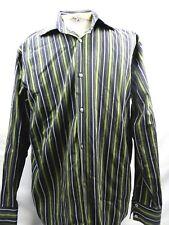 Banana Republic Mens XL Shirt Striped Green Long Sleeve Button Front 17-17.5