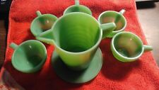 Vintage Akro Childs Jadeite Depression, with 4 Cups 1 plate and creamer, L@@k