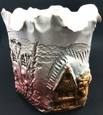 """Nouvelle Art Pottery Vase House & Tree Design Hand Made White Pink & Brown 5"""""""