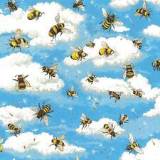 Cuarto gordo Abeja Haven las abejas volando algodón Acolchado tela 55x50cm