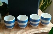 More details for vintage cornishware egg cups x4 used, vgc, two blue stripes each, possibly 50's.