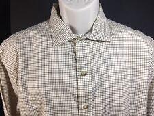 Polo By Ralph Lauren Long Sleeve Dress Shirt Size XL Beige Brown Tan Check  EUC