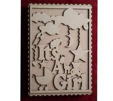 In legno MDF in legno Baby Memoria Ricordo Scatola girl è una ragazza Craft Parete Porta H..