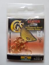 Cormoran Karpfen Haken goldfarben 20 Stück Größe 6 Örhaken