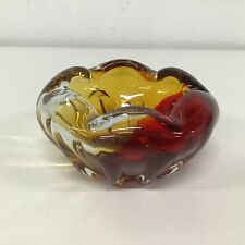 Vtg Red Amber Yellow Decorative Art Glass Trinket Display Bowl #404