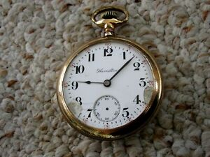 MENS VINTAGE Lever Set 17Jewel 18 SIZE Railroad Open Face HAMILTON POCKET WATCH